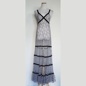 FP One Tiered Lavender Sheer Lace Maxi